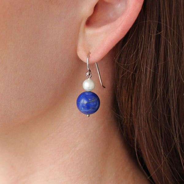 """Distinction"" Round Lapis and Pearl Sterling Silver Earrings"