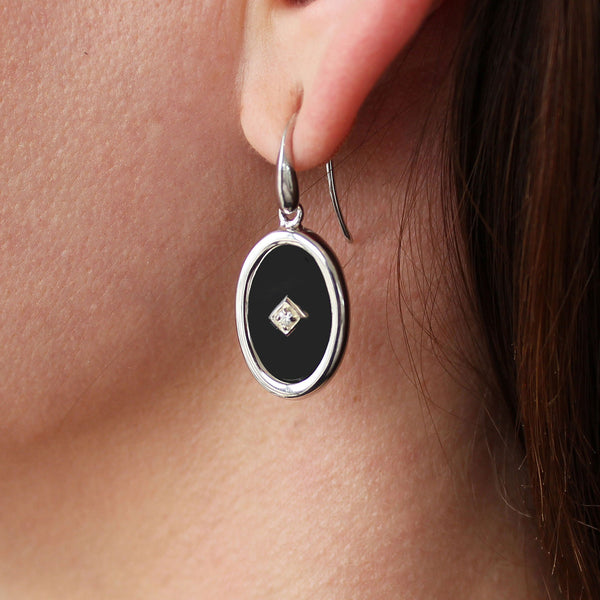 """Be the light""  Black Onyx and Diamond Sterling Silver Oval Earrings"
