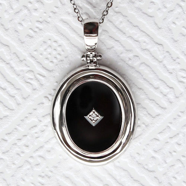 """Be the light""  Black Onyx and Diamond Sterling Silver Oval Enhancer"