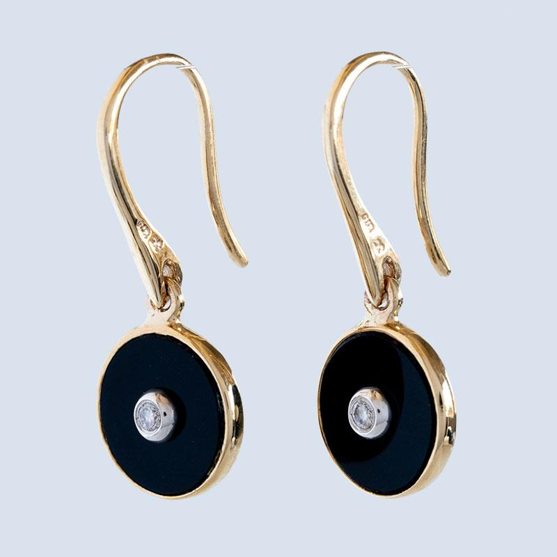 """Be the Light"" Black Onyx and Diamond Yellow Gold Earrings"