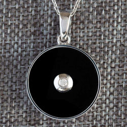 """Be the Light"" Black Onyx and Diamond Sterling Silver Pendant"