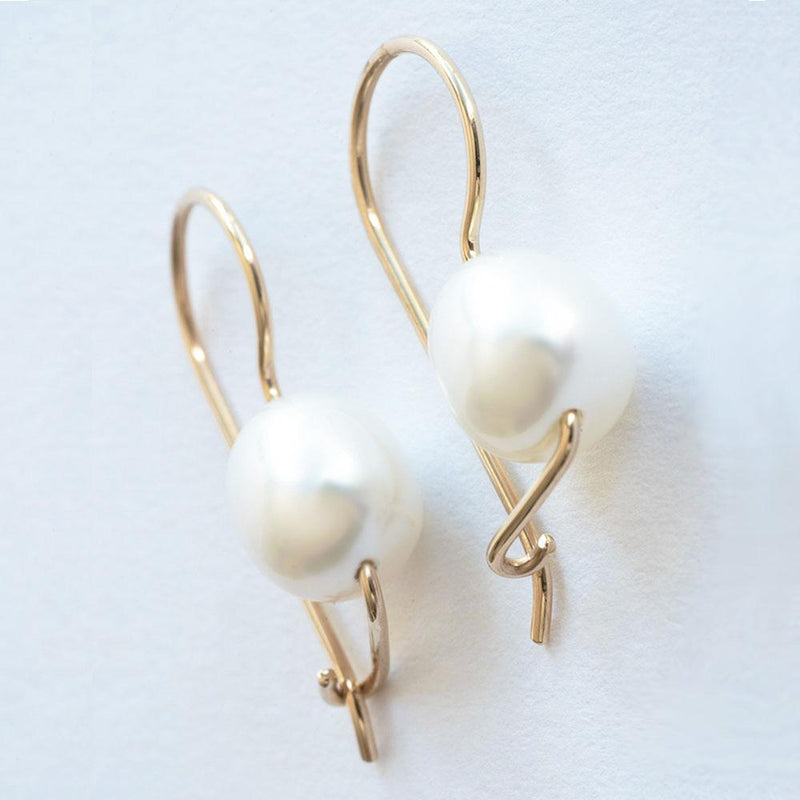 """Captivating Beauty"" Freshwater Pearl Euro Hook Yellow Gold Earrings - Révélations Boutique"