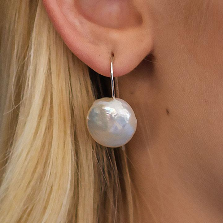 """Little Lovelies"" Freshwater Coin Pearl Sterling Silver Earrings - Révélations Boutique"