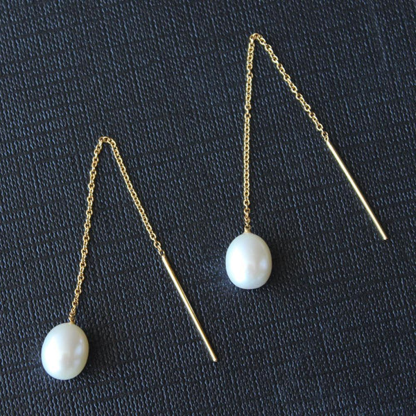 """Pearl Pendulum"" Freshwater Pearl Yellow Gold Chain Earrings - Révélations Boutique"