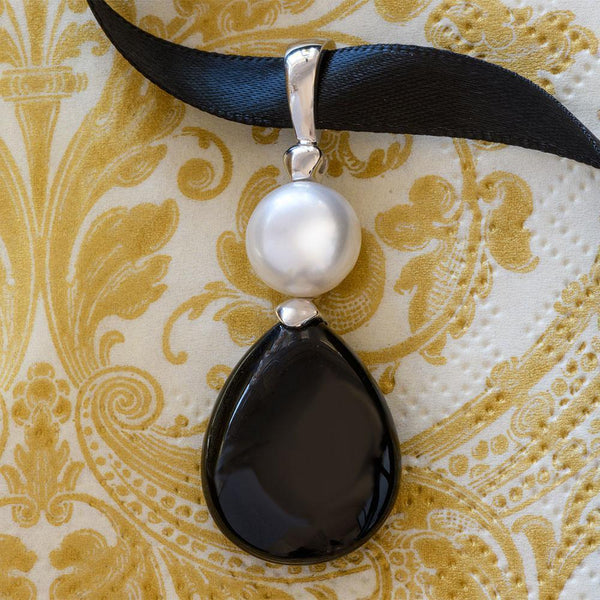 """Rebecca"" Black Obsidian Button Pearl Sterling Silver Enhancer - Révélations Boutique"
