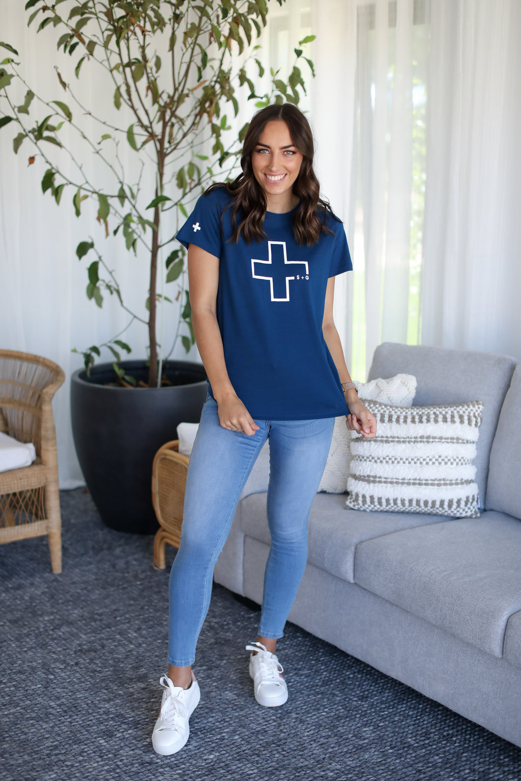 KATE TEE- Navy/White Cross