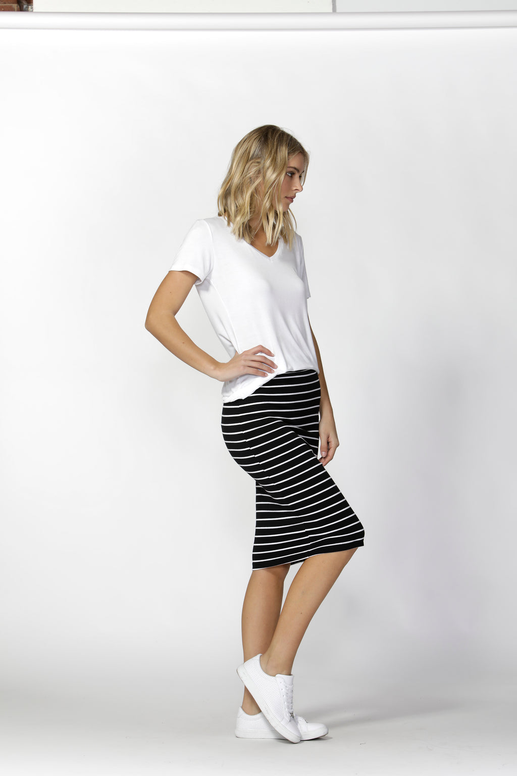 ALICIA MIDI SKIRT - Black/White Stripe