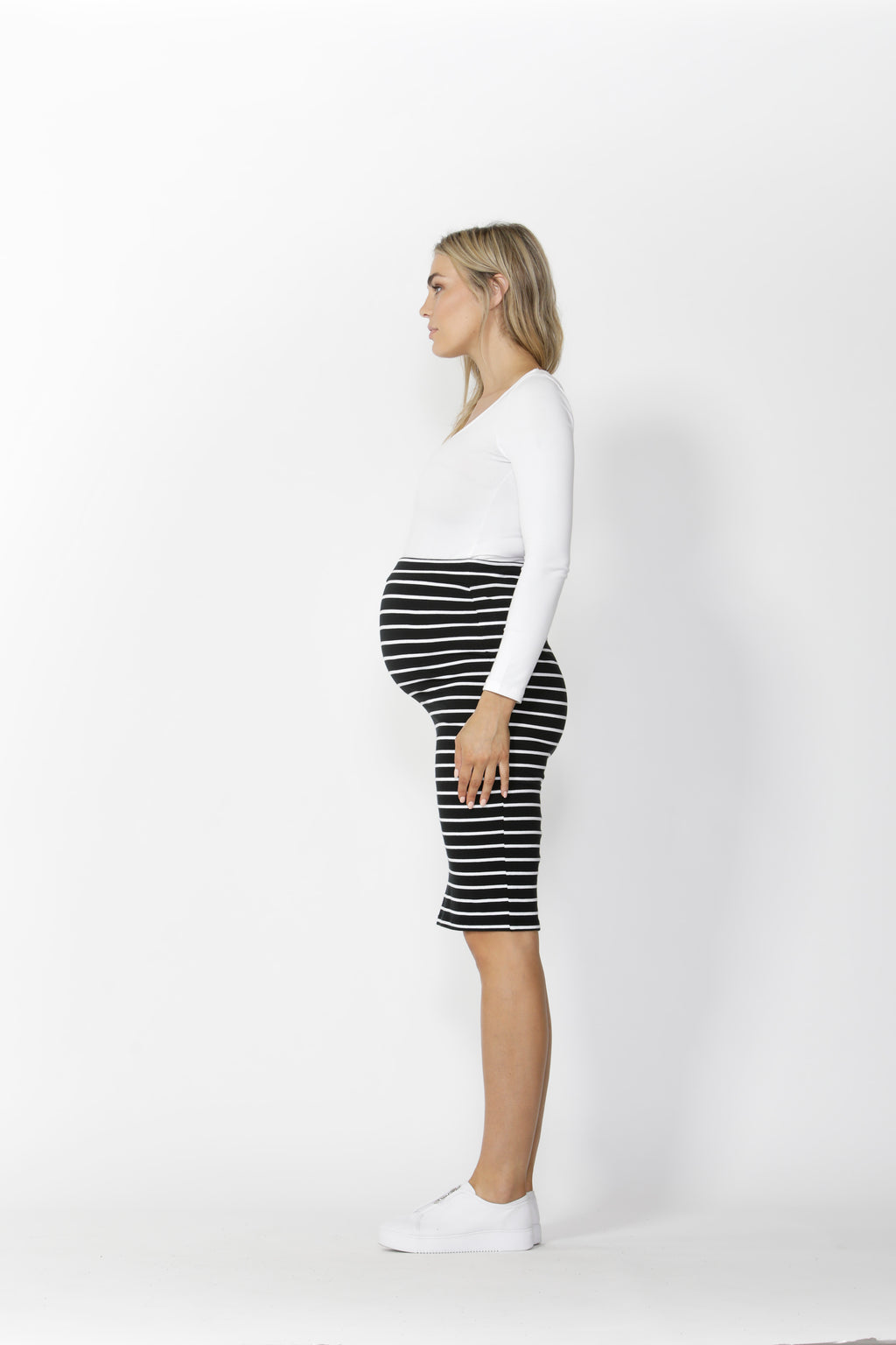 ALICIA MIDI SKIRT MATERNITY - Black/White Stripe