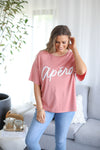 APERO COLADA BEADED OVERSIZED TEE - Peachy Pink/White