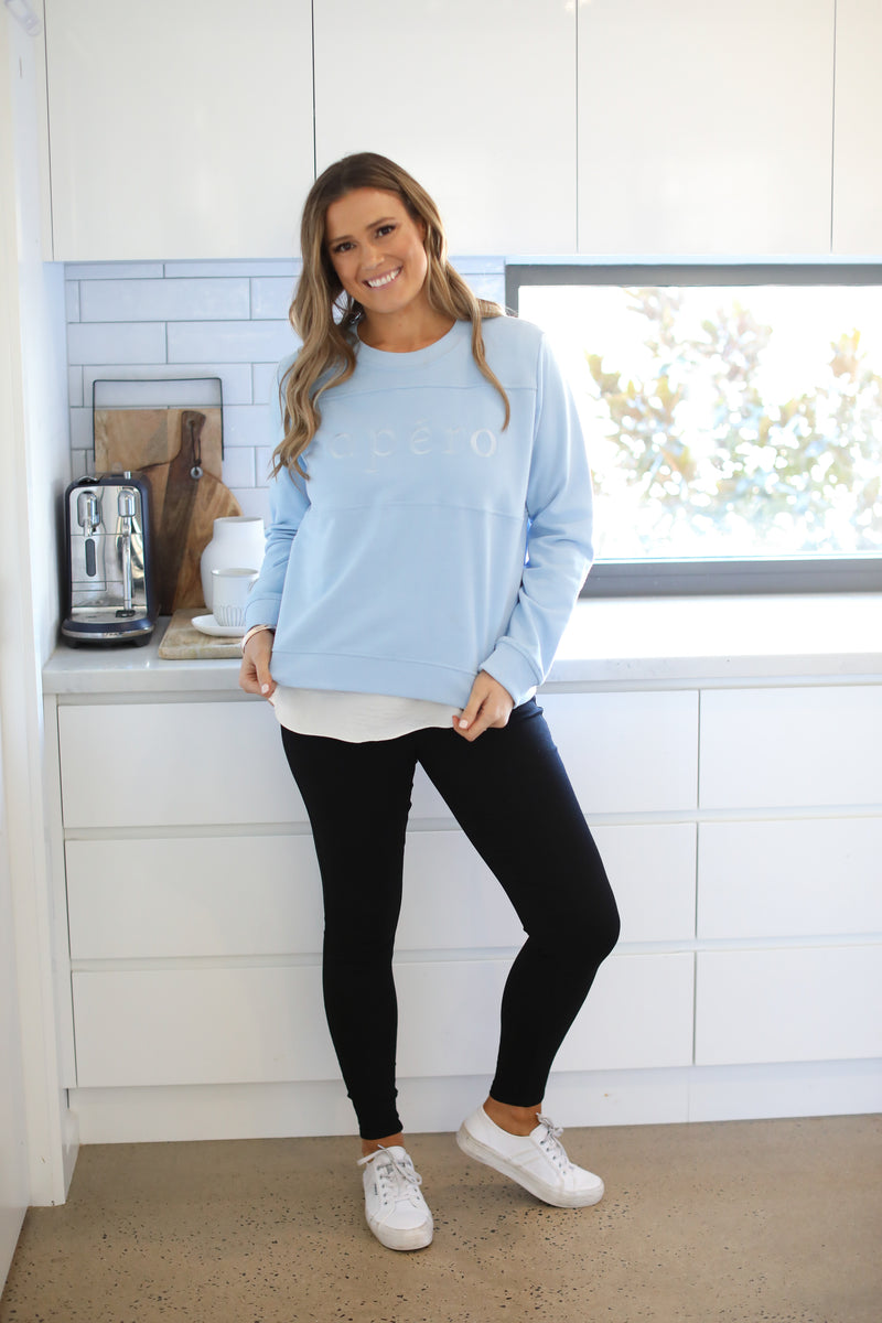 APERO EMBROIDERED PANEL JUMPER - Sky Blue