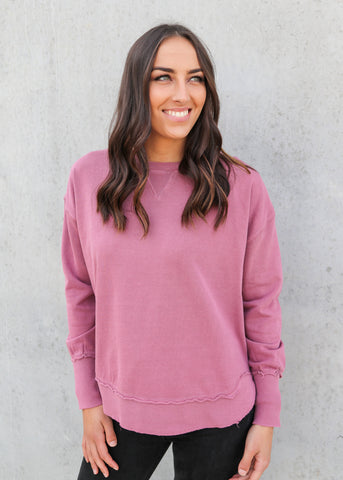 AMELIA PANEL HOODY- Dusty Pink/Rose/Grey