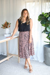 THE LEOPARD KNIFEPLEAT SKIRT- Peach Leopard