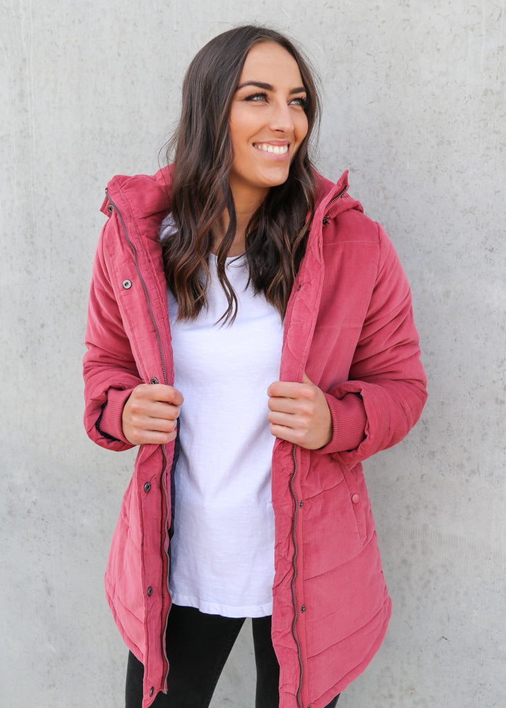 ELSA PUFFER JACKET- Deep Rose
