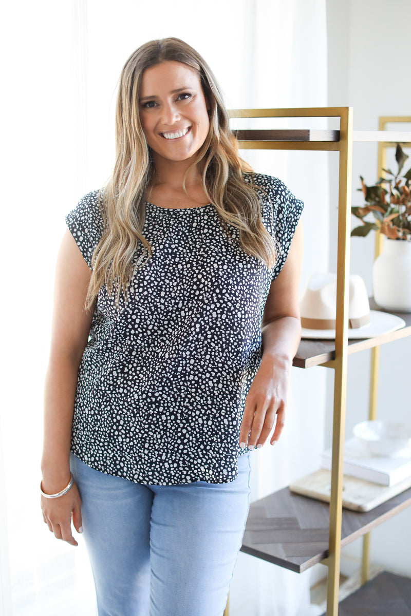 HASTINGS TOP- Navy Leopard