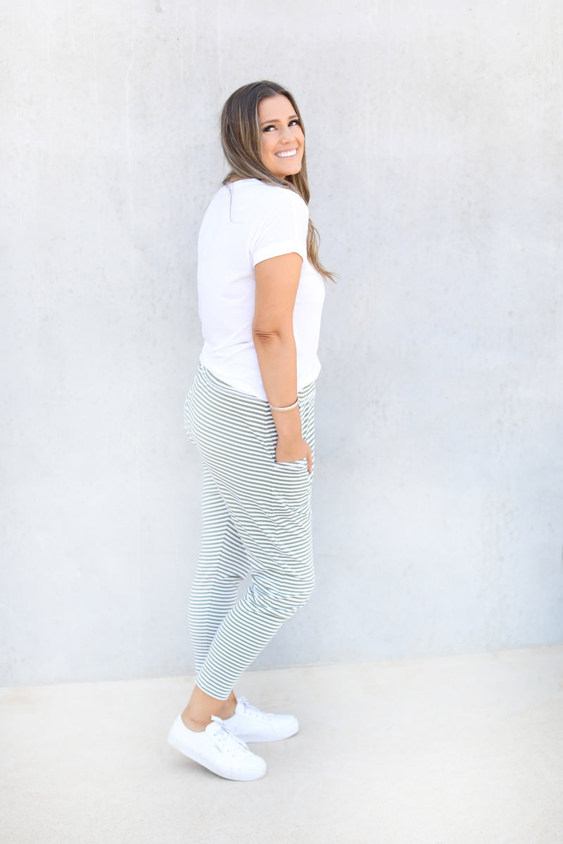 HOLLY WEEKENDER PANT- Green & White Stripe