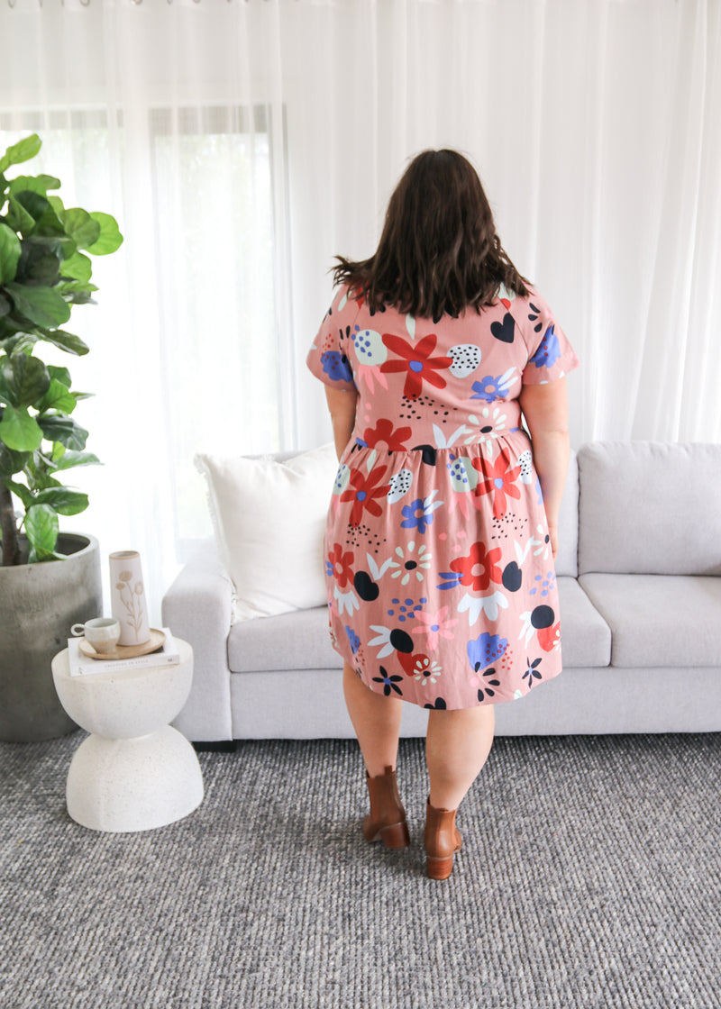 PINKY POSY BUTTON DRESS- Pink Posy Print