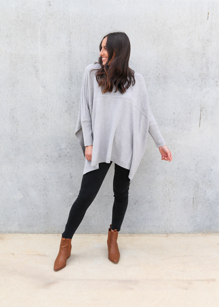 BREE CABLE KNIT PONCHO- Grey