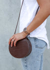 MAXINE CROC SHOULDER BAG- Chocolate