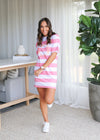 LIBBY TEE DRESS- Pink Stripe