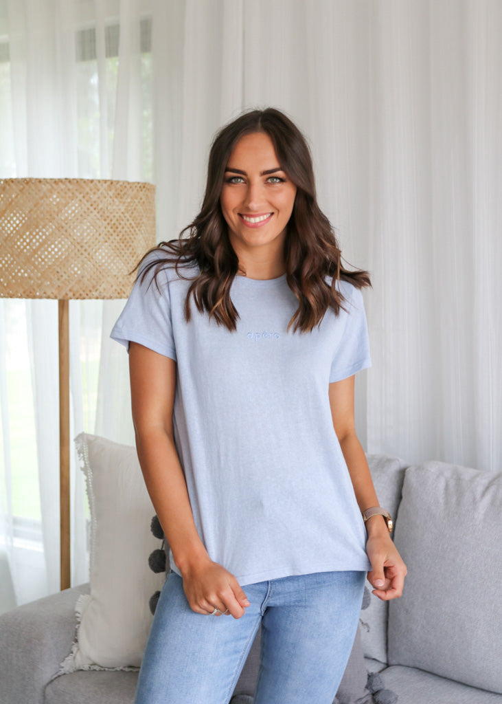 APERO MINI EMBROIDERED FEMME TEE- Sky Blue