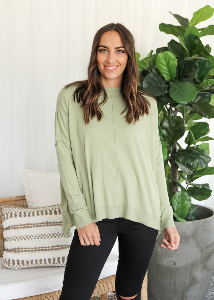BELLA KNIT TOP- Pistachio