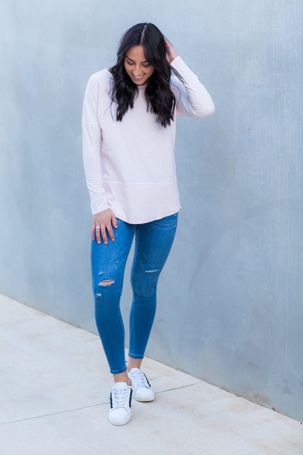 FUNDAMENTAL RIB L/S TEE - Pink
