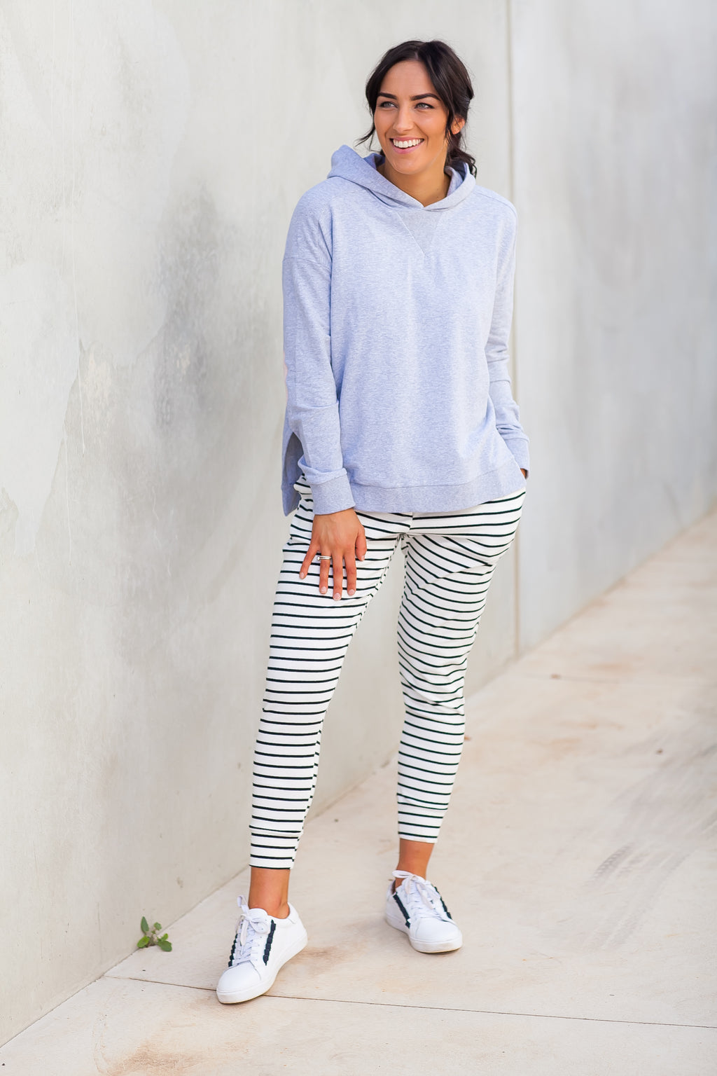 JAIMIE JOGGERS- White/Black Stripe