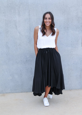 SIRI SKIRT- White/Black Stripe