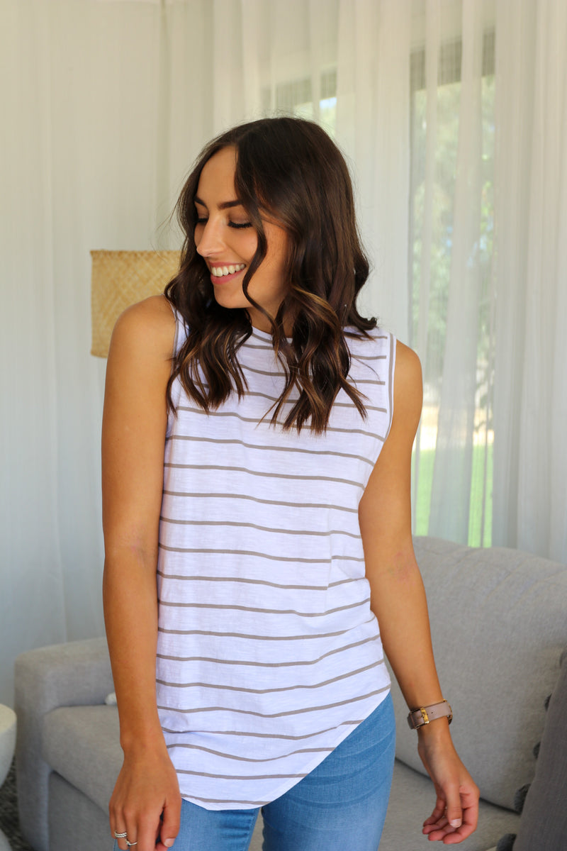 FREYCINET TANK - White/Grey Stripe