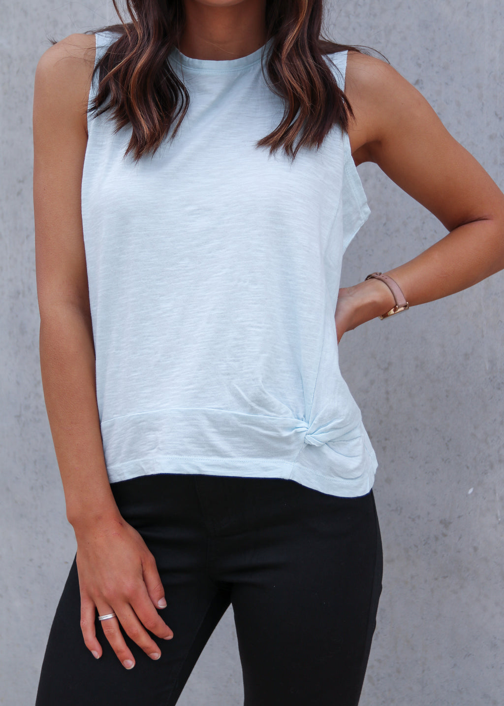 KNOT FRONT CROP TANK- Light Blue