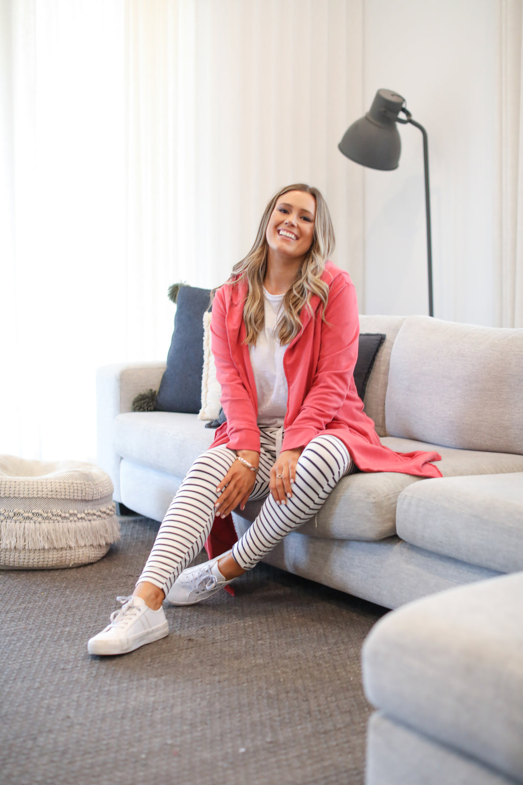 NAOMI HOODED CARDI - Red