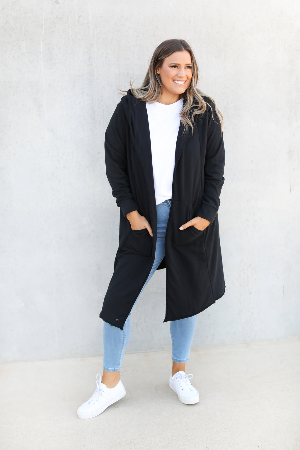 NAOMI HOODED CARDI - Black
