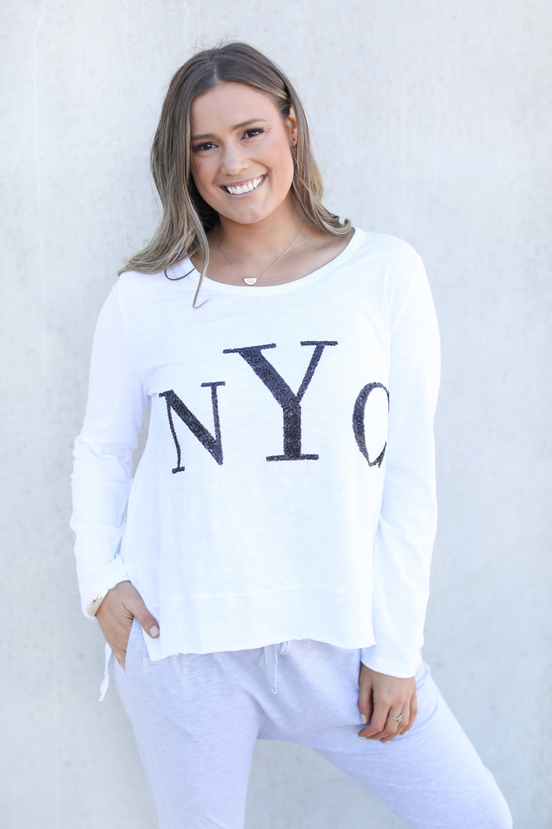 NYC L/S SEQUIN TOP - White