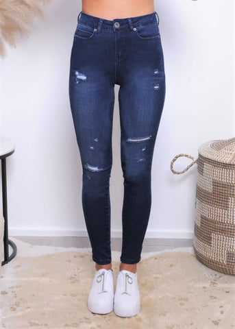 DEMI DROP CROTCH PANTS - Blue Wash
