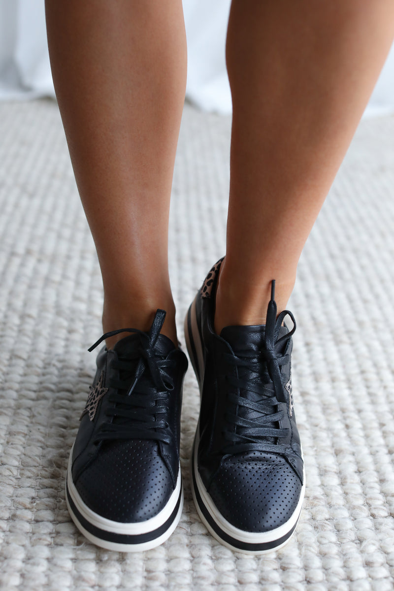 PIXIE SNEAKER- Black/Brown Animal