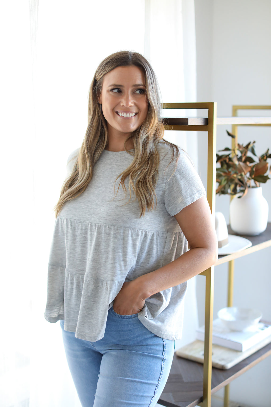 ROSANNA TEE- Light Grey Marle