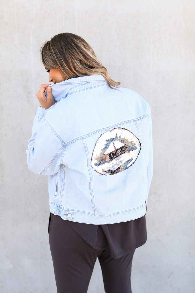 THE TRUCKER JACKET- SEQUIN LIPS
