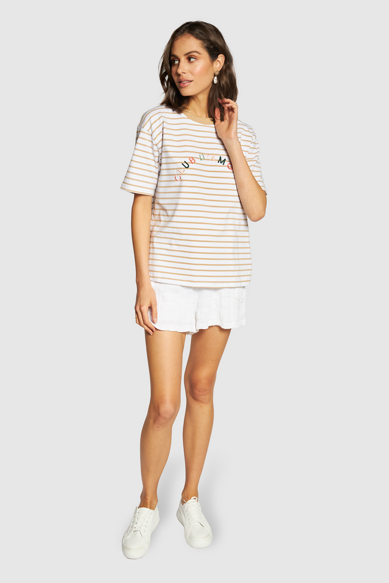 APERO CLUB D'AMOUR EMBORIDERED TEE- Beige/White Stripe