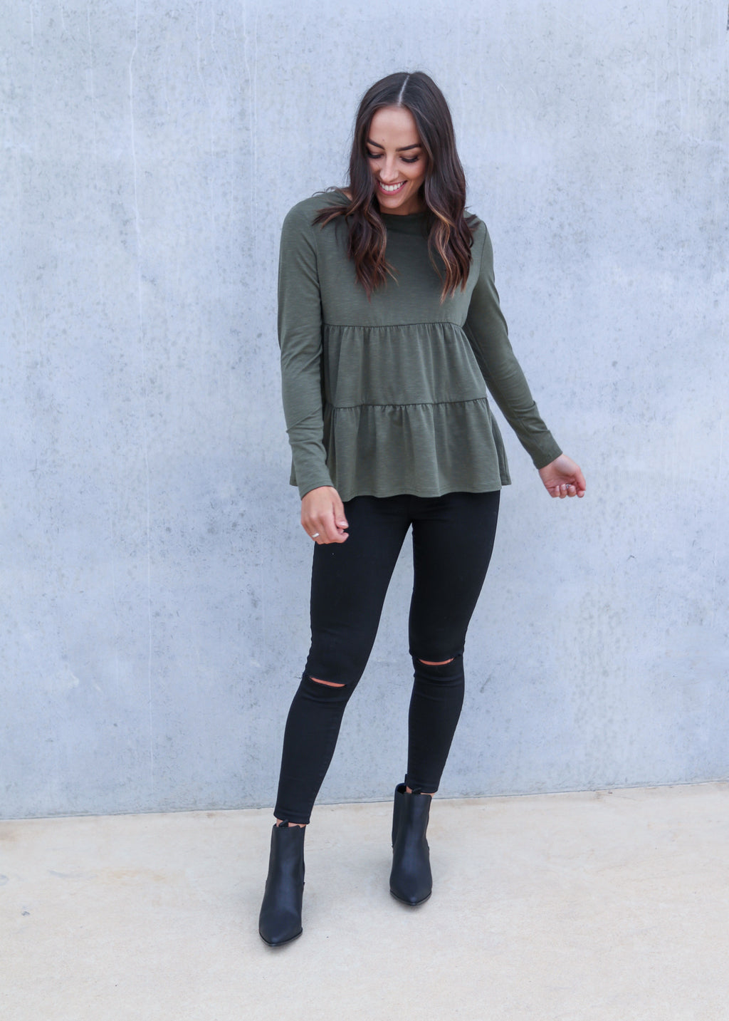 EVERLY L/S TOP- Khaki