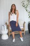 NINA PLEAT SKIRT- Navy