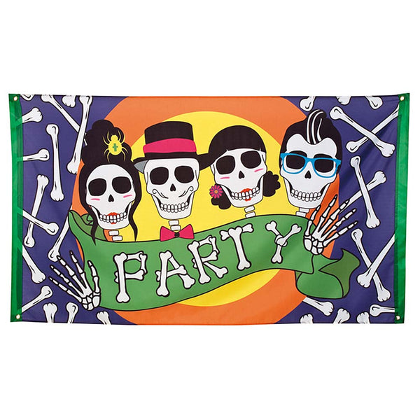 Vlag Halloween party 90 x 150 cm
