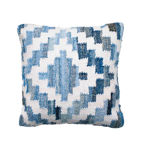 Coastal style denim blue and white square cushion in Aztec pattern.