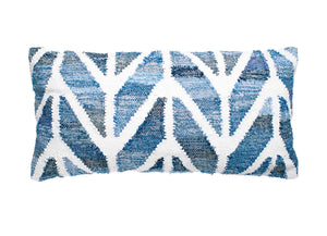 Coastal style upcycled denim blue and white cotton rectangle cushion in herringbone pattern.