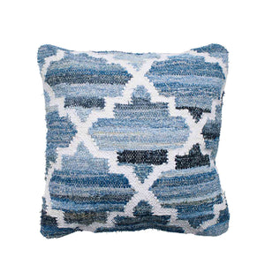 Hamptons style denim blue and white square cushion in lattice pattern.