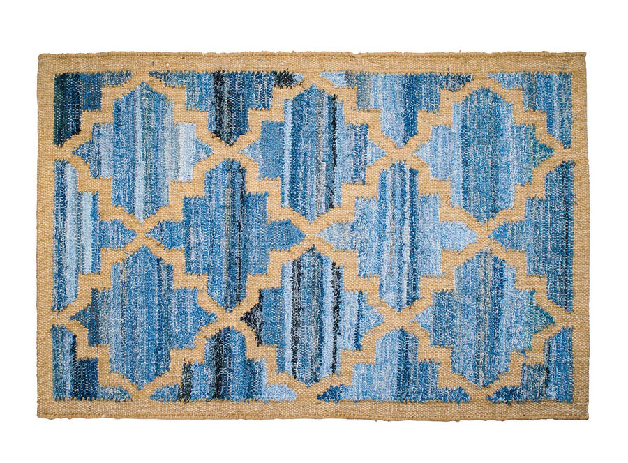 Hamptons style upcycled denim blue and sustainable dark jute door mat in lattice pattern.