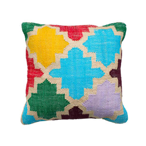 Boho Multicoloured handwoven upcycled cotton and sustainable jute square cushion in lattice pattern