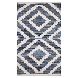 Blue and white coastal style rug