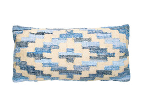 Coastal style denim blue and blonde jute rectangle cushion in Aztec pattern.