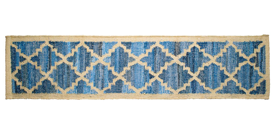 Hamptons style upcycled denim blue and sustainable jute table runner in lattice pattern.