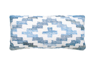 Coastal style denim blue and white rectangle cushion in Aztec pattern.